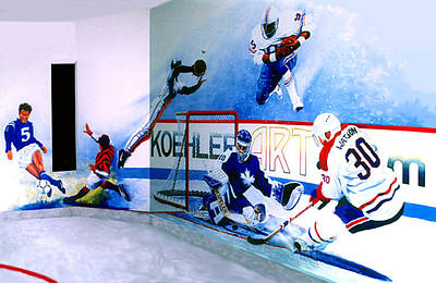 Sports Paintings - Team Sports Mural by Hanne Lore Koehler