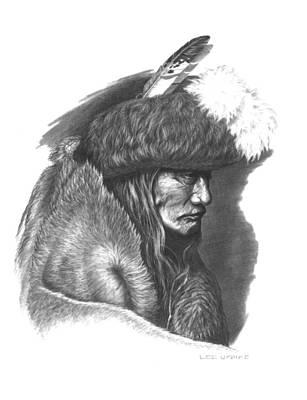 Pencil Native American Drawing - Tearing Robe by Lee Updike