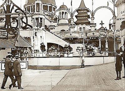 Painting - Teaser Ride In Coney Island Brooklyn N Y 1910 by Dwight Goss