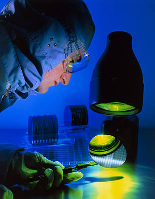 Technician Inspecting Silicon Wafers Art Print by David Parkerseagate Microelectronics Ltd