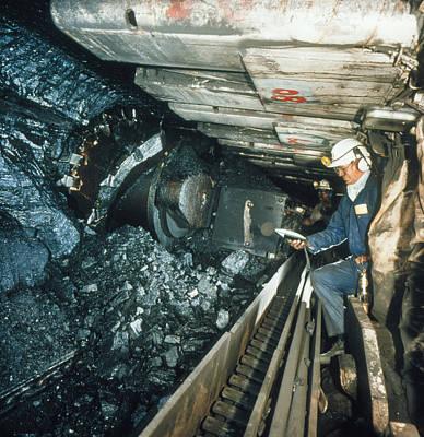 Technician Measures Noise Levels In A Coal Mine Art Print