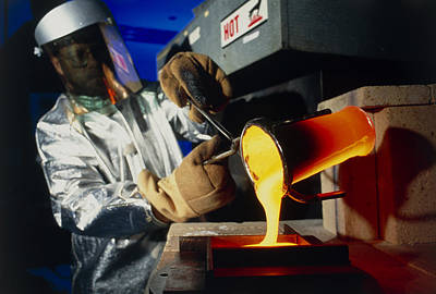Crucible Photograph - Technician Pours Molten Glass From A Crucible by Volker Steger