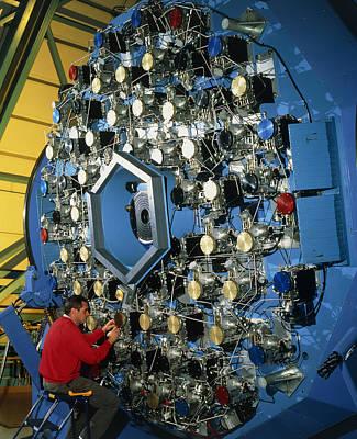 Technician With The Wiyn Telescope's Active Optics Art Print by David Parker