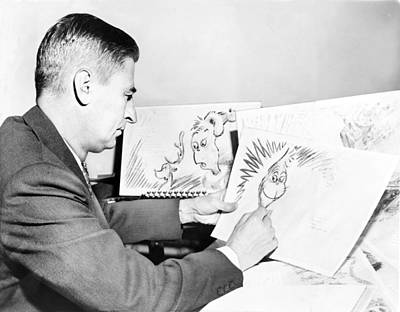 Ted Geisel Dr. Seuss 1904-1991 At Work Art Print by Everett
