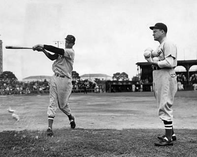 Baseball Uniform Photograph - Ted Williams Gets Batting Practice by Everett