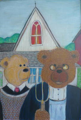 Painting - Teddy Bear Gothic by Todd  Peterson