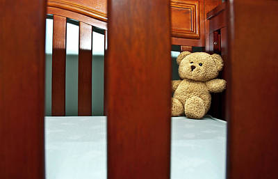 Photograph - Teddy Bear In Baby Crib by Carolyn Marshall