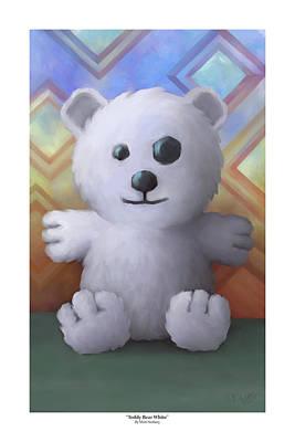 Fuzzy Digital Art - Teddy Bear White by Matt Nesbary