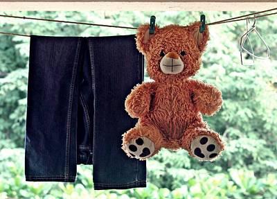 Teddy On Clothes Line Art Print
