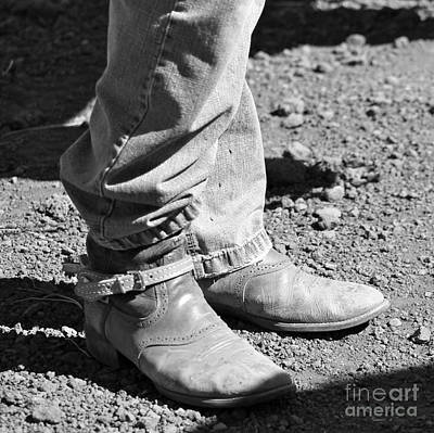 Cattle Drive Photograph - Teen Cowboy Boots In Black And White by Pamela Walrath