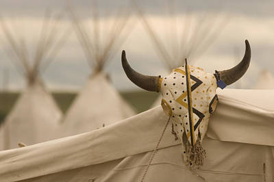 Painted Buffalo Skull Photograph - Teepees At Ft. Union Trading Post by Phil Schermeister