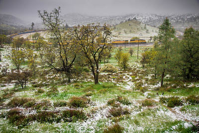 Photograph - Tehachapi Pass Train In Snow by Connie Cooper-Edwards