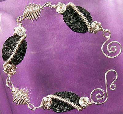 Wire Wrap Bracelet Jewelry - Tektite And Quartz Bracelet by Heather Jordan
