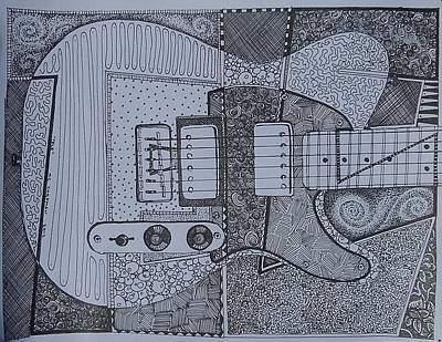 Telecaster Drawing - Tele by KC Chapman
