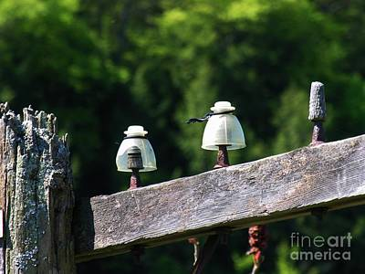 Art Print featuring the photograph Telephone Pole And Insulators by Sherman Perry
