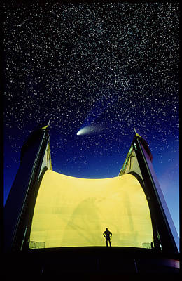 Telescope & Comet Hale-bopp Art Print
