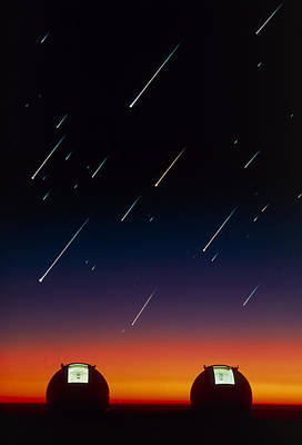 Keck Photograph - Telescope Domes On Mauna Kea With Meteors by David Nunuk
