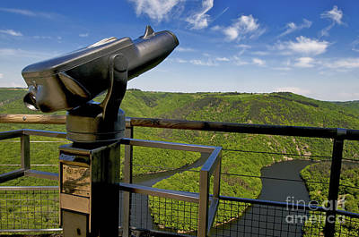 Telescope With View On Meander Of Queuille. Auvergne. France. Europe Print by Bernard Jaubert