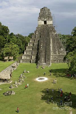 Tikal Photograph - Temple And Great Plaza Tikal Guatemala by John  Mitchell