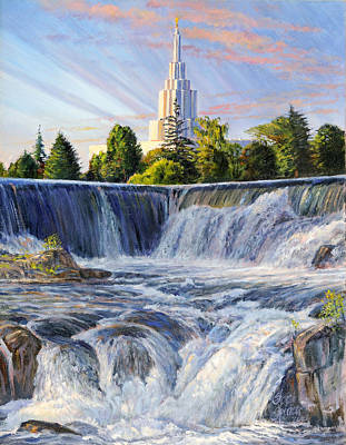 Temple And The Falls Art Print