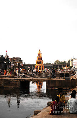 Ancient Photograph - temple and the river in India by Sumit Mehndiratta