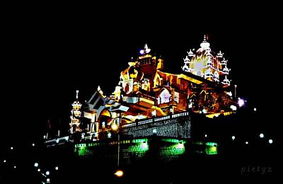 Indian Artist Piety Photograph - Temple At Night by Piety Dsilva