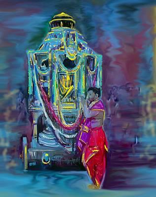 Digital Painting - Temple Car Festival by Usha Shantharam