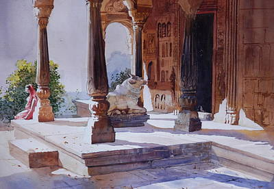 Painting - Temple Curtyard by Bijay Biswaal