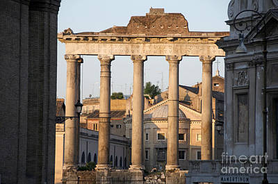 City Scapes Photograph - Temple Of Saturn In The Forum Romanum. Rome by Bernard Jaubert