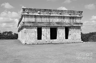 Photograph - Temple Of The Turtles At Uxmal Mexico Black And White by Shawn O'Brien