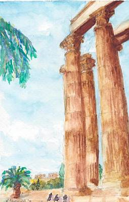 Temple Of Zeus In Athens Greece Art Print by Katherine Shemeld
