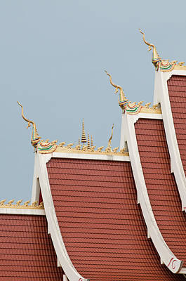 Lao Wall Art - Photograph - Temple Roof Detail. by Thomas Pickard