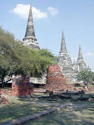 Digital Image Digital Art - Temples Ayutthaya Thailand by Paul Shefferly