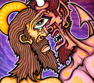 Temptation Mixed Media - Temptation Of Christ by Jason Hawn