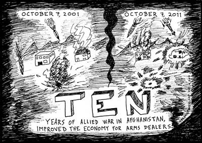Thedailydose.com Drawing - Ten Years Of War On Terror In Afghanistan by Yasha Harari