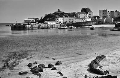 Photograph - Tenby Harbour From North Beach Mono 2 by Steve Purnell