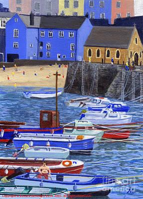 Tenby Harbour Painting - Painting Tenby Harbour With Boats by Edward McNaught-Davis