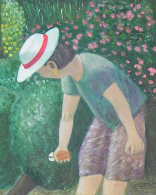 Painting - Tending The Garden by Ernie Goldberg