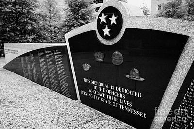 tennessee state police officer memorial war memorial plaza Nashville Tennessee USA Art Print by Joe Fox