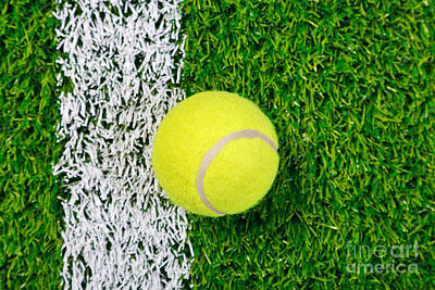 Tennis Ball On Grass From Above. Art Print by Richard Thomas