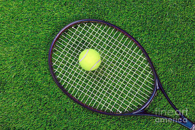 Tennis Raquet And Ball On Grass Art Print by Richard Thomas