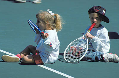 Tennis Tots At Wimbledon Art Print by Carl Purcell