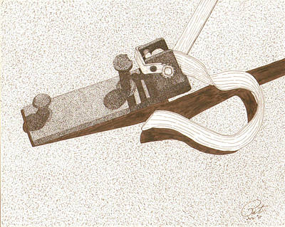 Sepia Ink Drawing - Tent Peg by Pat Price