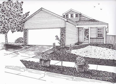 Drawing - Teresa's House by Michelle Welles