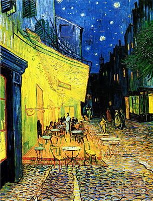 Terrace Of The Cafe On The Place Du Forum In Arles In The Evening Art Print by Pg Reproductions