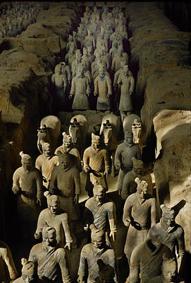 Terracotta Warriors And Horses March Art Print by O. Louis Mazzatenta
