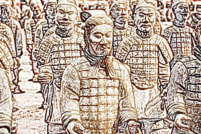 Digital Art - Terracotta Warriors China Pavilion Epcot Walt Disney World Prints Colored Pencil by Shawn O'Brien