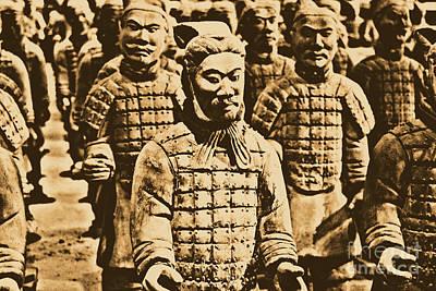 Digital Art - Terracotta Warriors China Pavilion Epcot Walt Disney World Prints Rustic by Shawn O'Brien