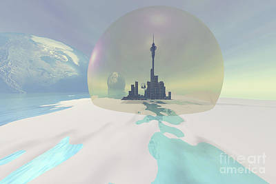 Terraform Digital Art - Terraforming The Moon With A New City by Corey Ford