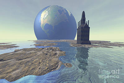 Terraform Digital Art - Terraforming The Moon With Water by Corey Ford